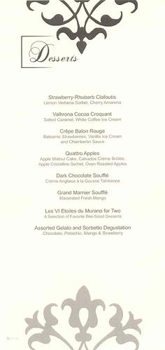 Murano menu celebrity eclipse