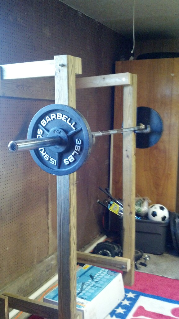 Squat rack in military press mode just the right height