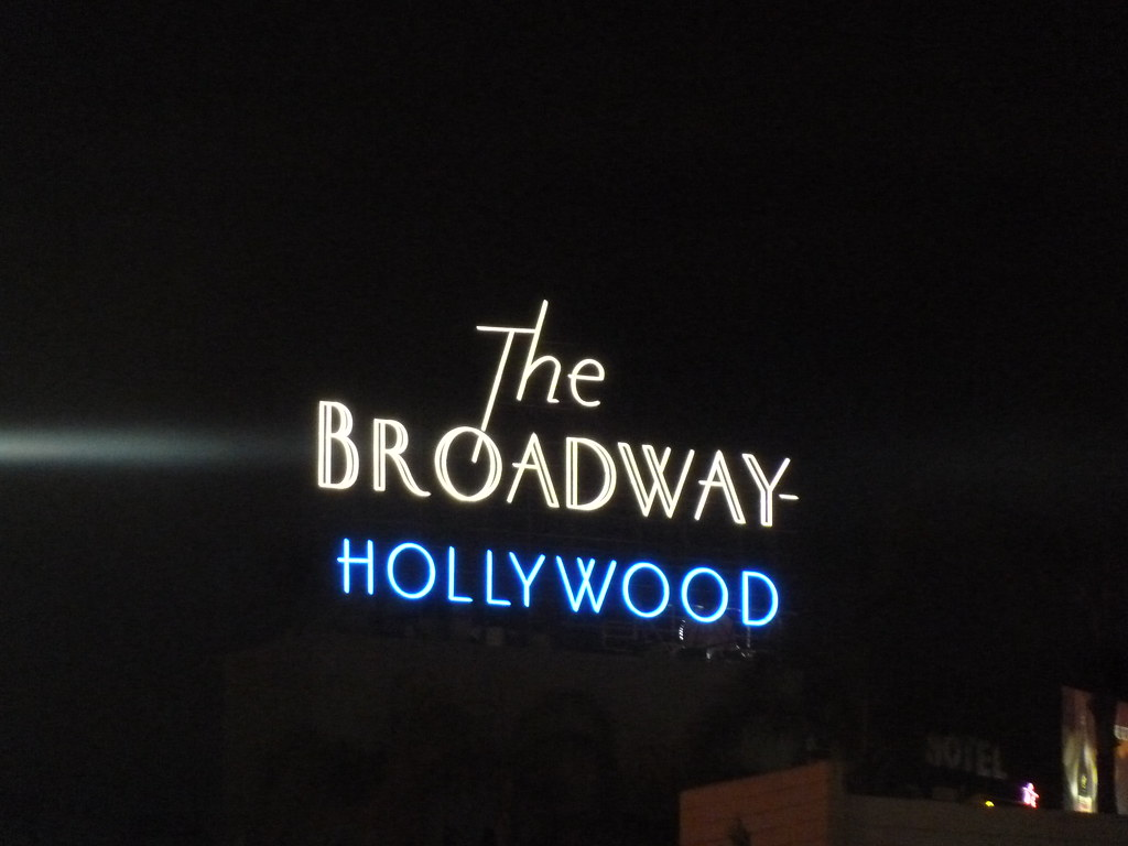 Sign At Night For The Broadway Hollywood And Vine Where Lofts Penthouses Are