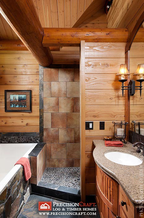 Master bathroom in a log home by precisioncraft log home for Log cabin bathroom pictures