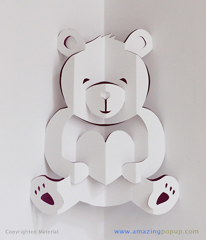 teddy bear pop up card template free lovely bear valentine popup card