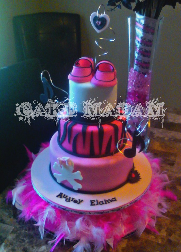 Punk rock baby shower cake front view mary katherine for Punk rock bathroom decor