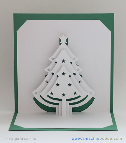 Christmas tree popup card it is for How to make folded christmas cards
