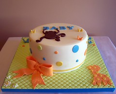 Monkey and Giraffe Baby Shower Cake