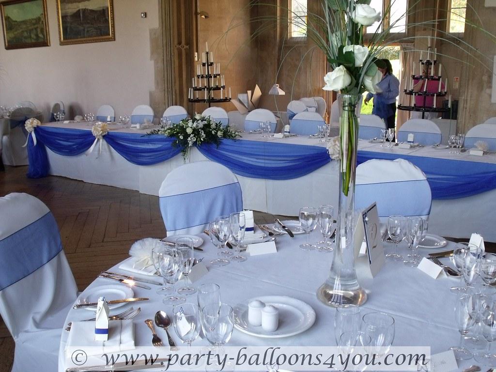 Top Table Organza Swag Royal Blue And Cream Wedding
