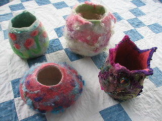 wool vessels wet felted | by calamity kim