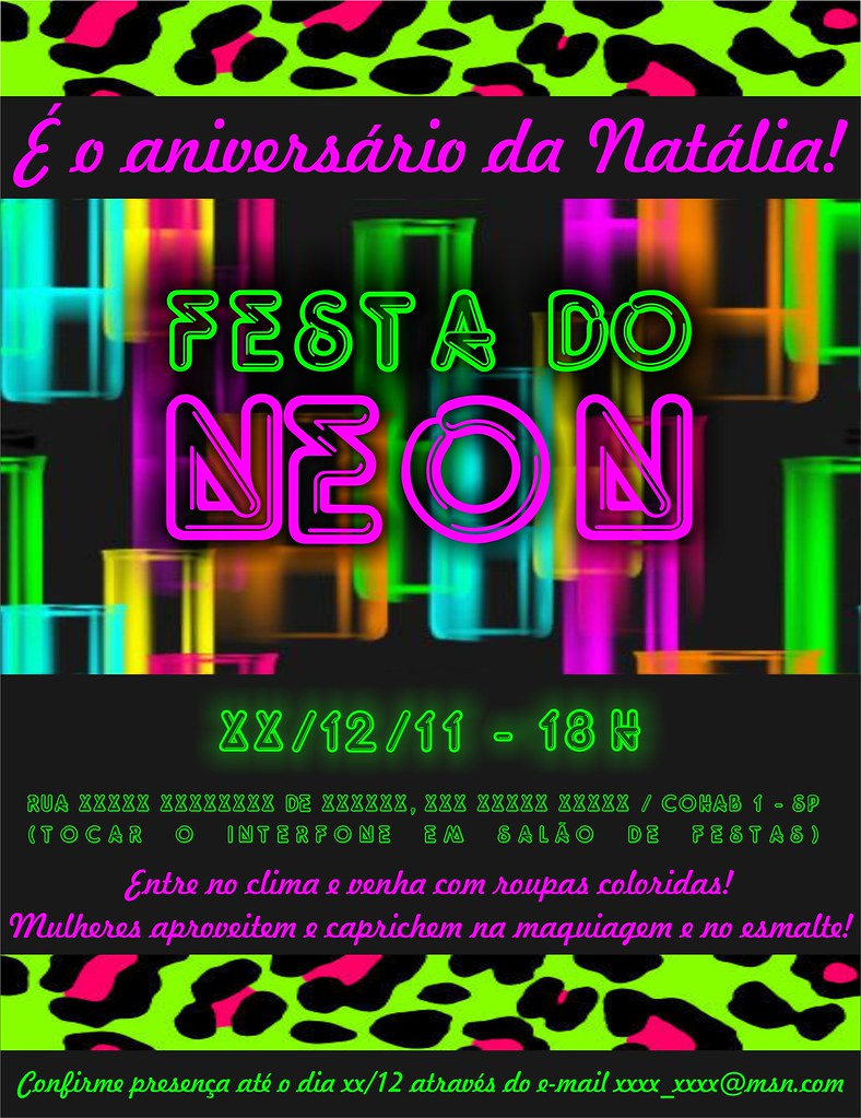 Convite Virtual - Festa do Neon | Para saber mais sobre ...
