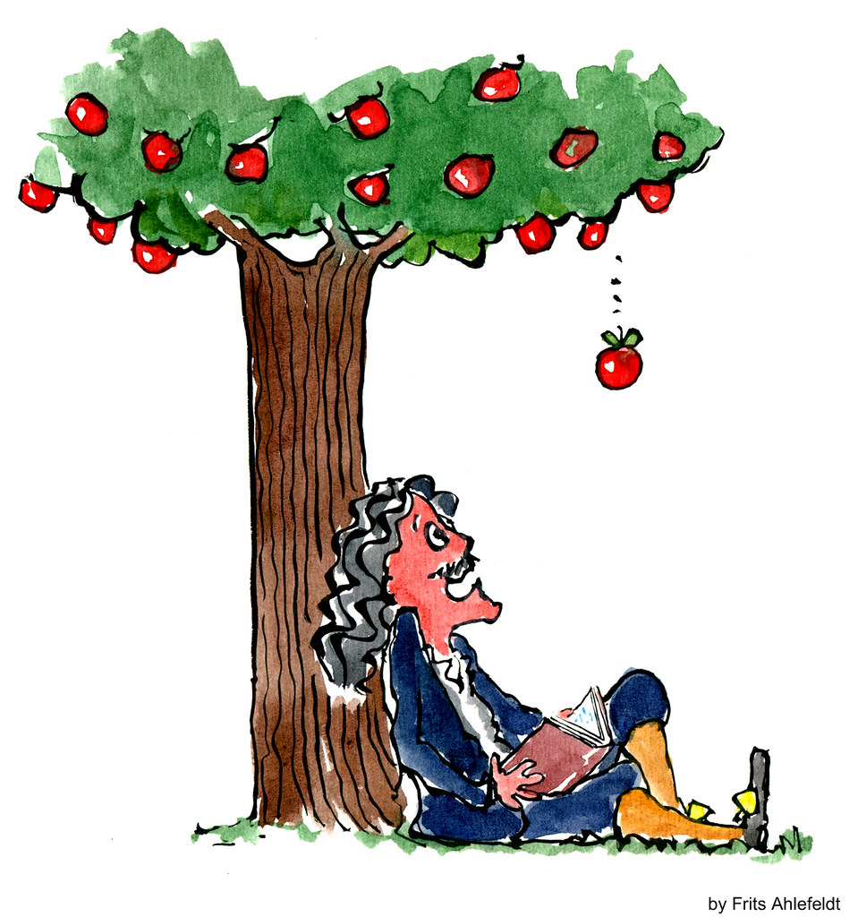 By Newton Under The Apple Tree Waiting For To Fall