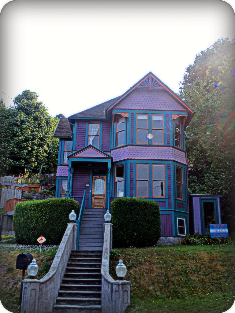 Purple, teal, and orange Victorian gingerbread house   Flickr