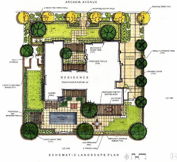 Colorful landscape design plan by srla studio www for House plans with landscaping