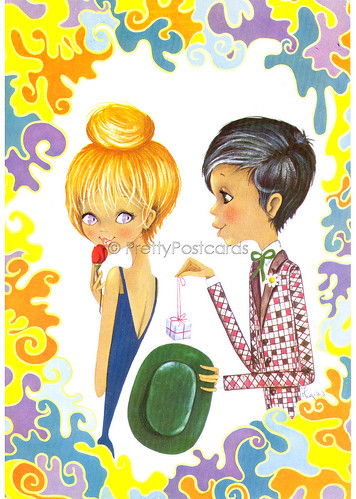 Vintage Postcard of a Big Eyed girl and Boy by Fugeles, Giving her a Ring | by PrettyPostcards