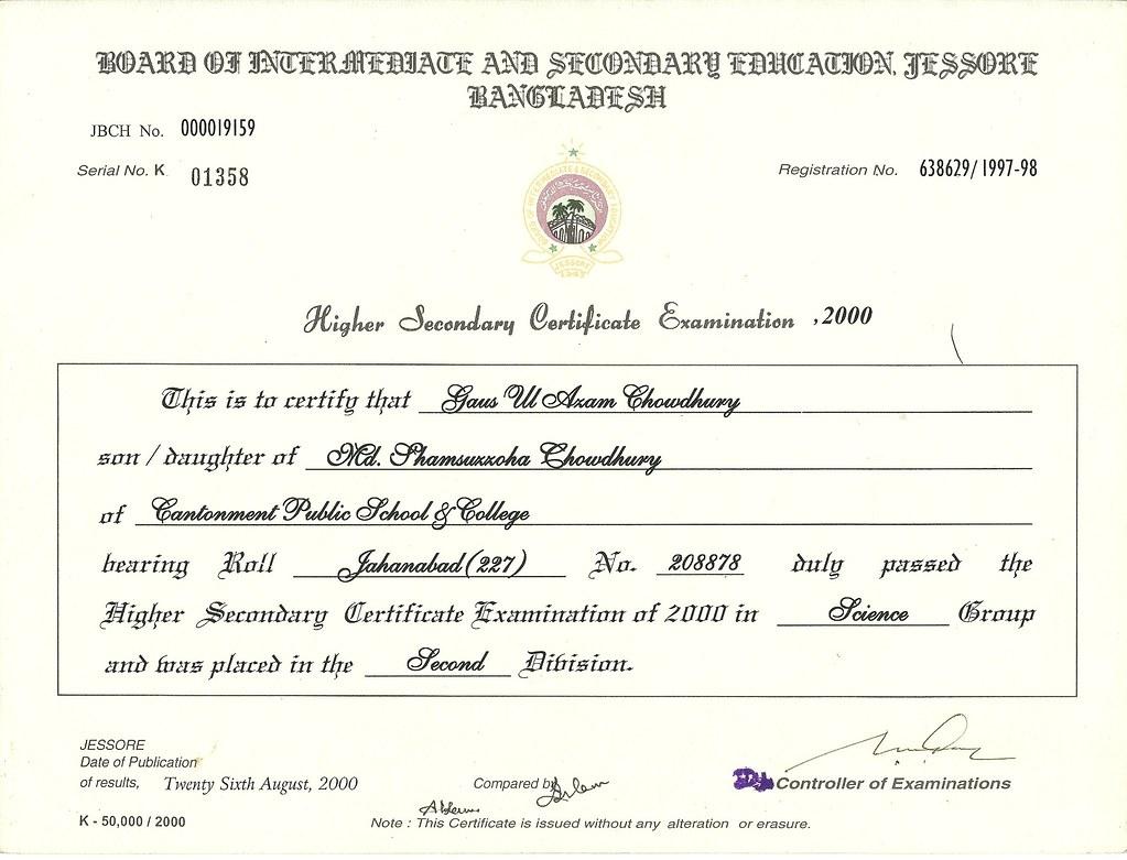Higher Secondary School Certificate Certificate Higher Se Flickr