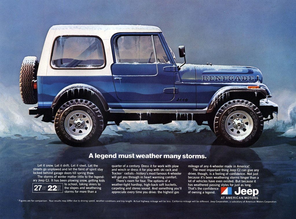 Jeep Wrangler With Plow Jeep CJ-7 All-Weather Advertisement | Great all-weather adve ...