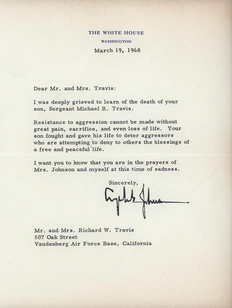 Condolence Letter President Johnson 1968 This letter was – Condolence Letter