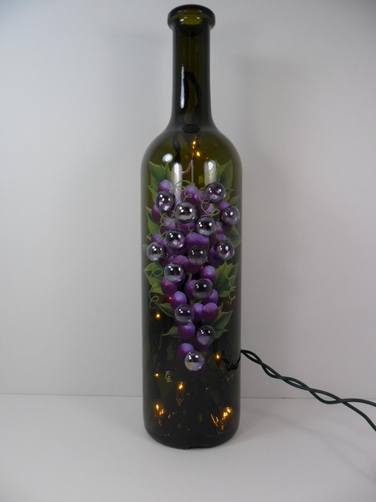 Lighted wine bottle purple grapes 750ml this lighted for Light up wine bottles