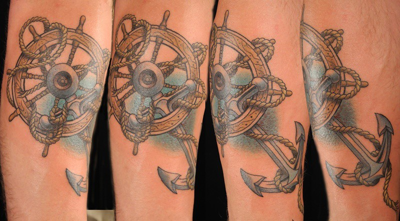Tattoo By Matthew Amey: Anchor And Ship's Wheel.