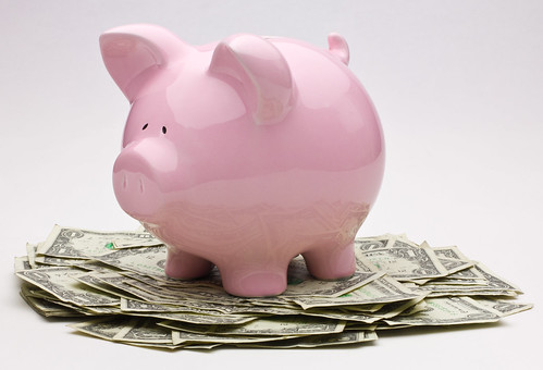 Pink Piggy Bank On Top Of A Pile Of One Dollar Bills | by kenteegardin
