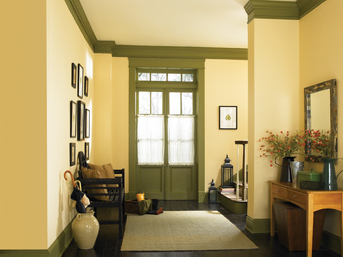 Country hallway yellow walls calm air 300e 2 ceiling for Behr pro paint