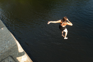 Tara Jumping off a Bridge into the Saco River | by goingslowly
