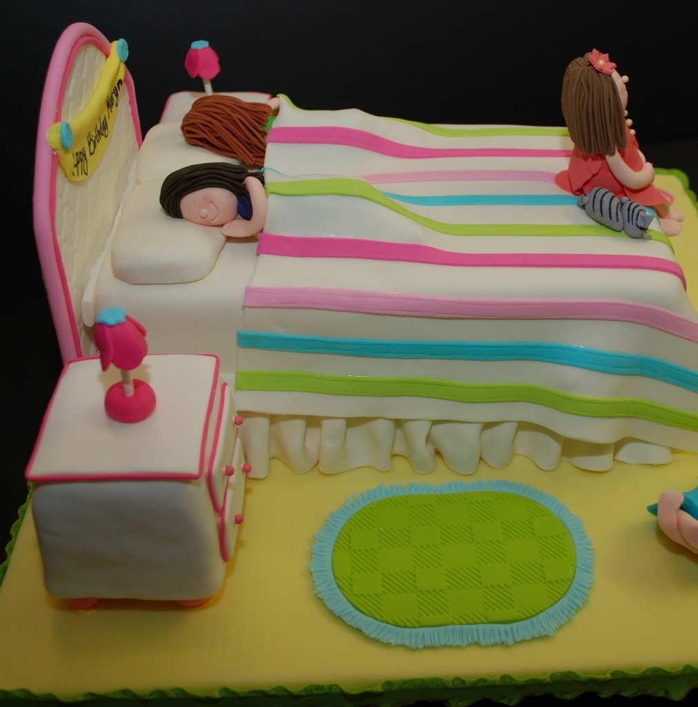 Slumber Party Birthday Cake details Close up of sleeping f Flickr