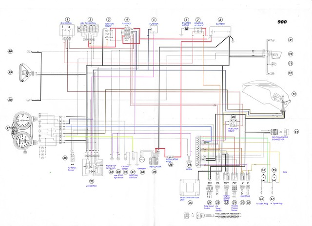 2000-01 Ducati Monster 900 i.e Electrical wiring Diagram | Flickr