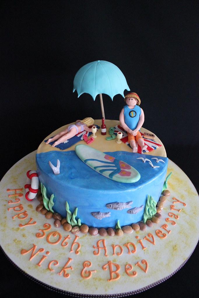 Nick And Bevs 30th Wedding Anniversary Beach Theme Cake Flickr