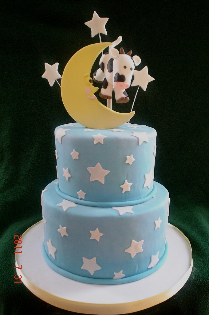 Cow Moon Baby Shower Cake For A Boy Baby Shower My