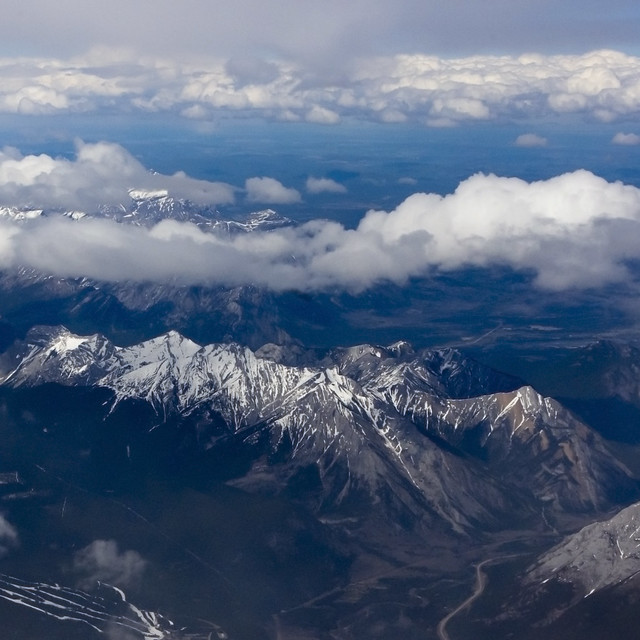Rocky Mountains Shot from the air just West of Calgary By ecstaticist