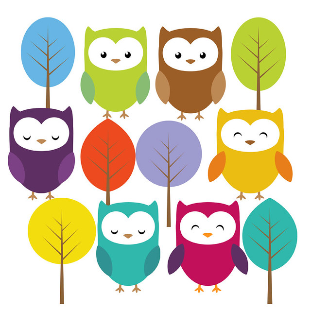 Cute owl and trees clip art set | Flickr - Photo Sharing!