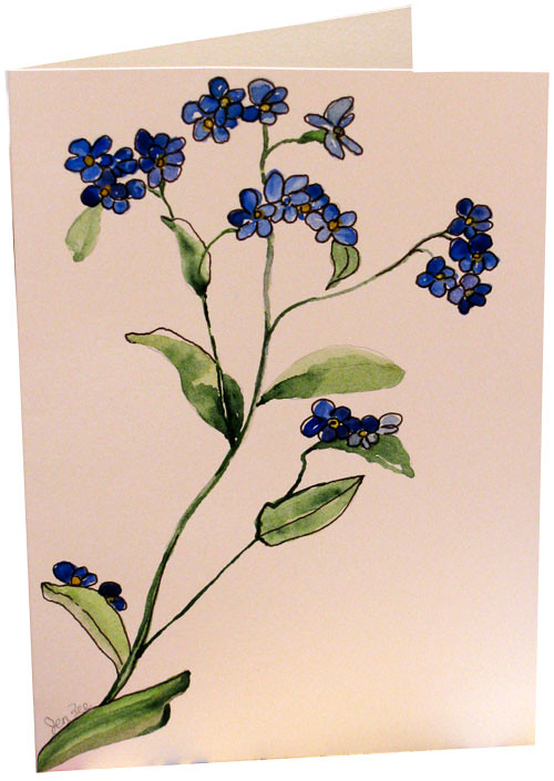 Original blue forget me not flower watercolor painting han flickr original blue forget me not flower watercolor painting hand painted greeting note cards by botanical m4hsunfo