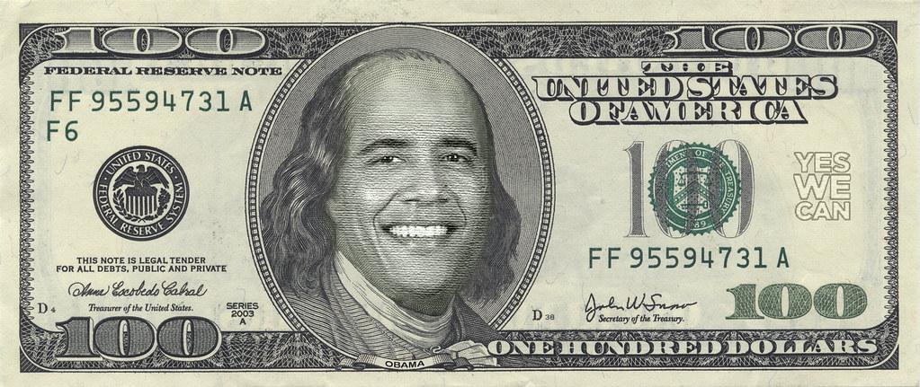 Barack Obama 100 Dollar Bill