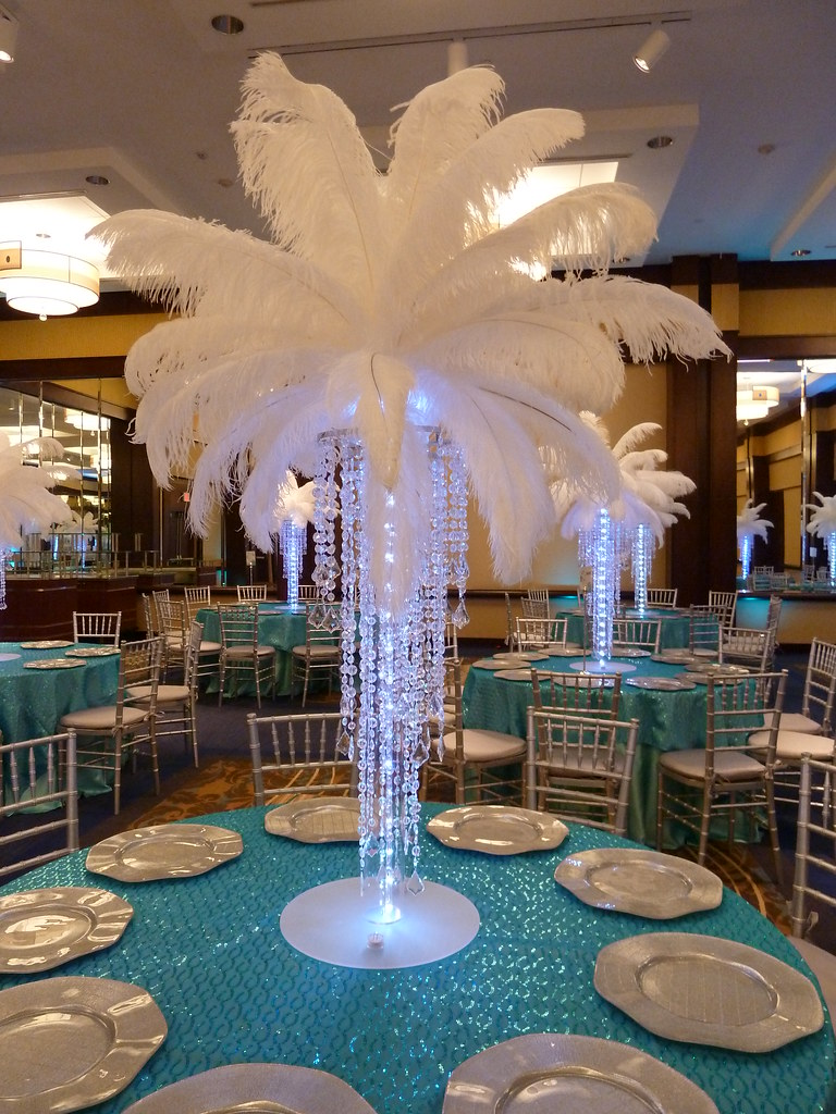 Crystal chandelier light up centerpiece with feathers at t – Chandelier Wedding Centerpieces