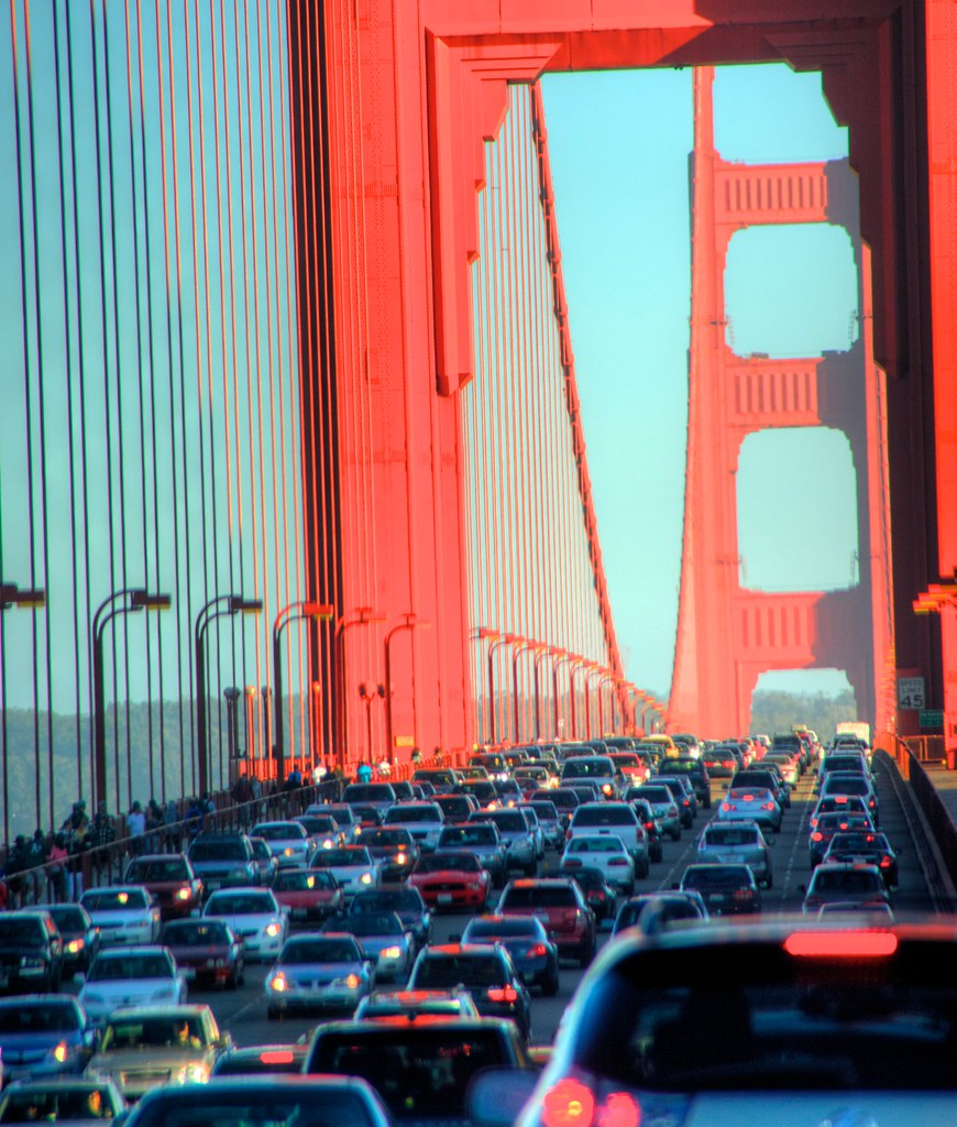 Traffic on Golden Gate bridge. | Taken in the car, GGB is ...