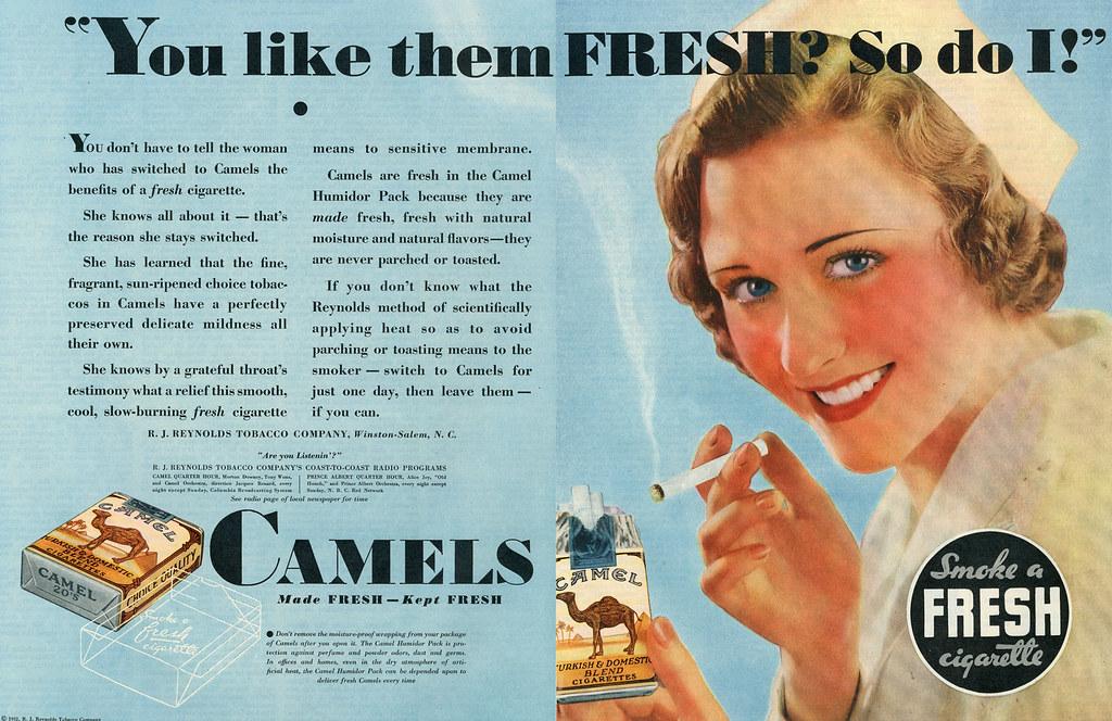 camel  smoke a fresh cigarette  nurse