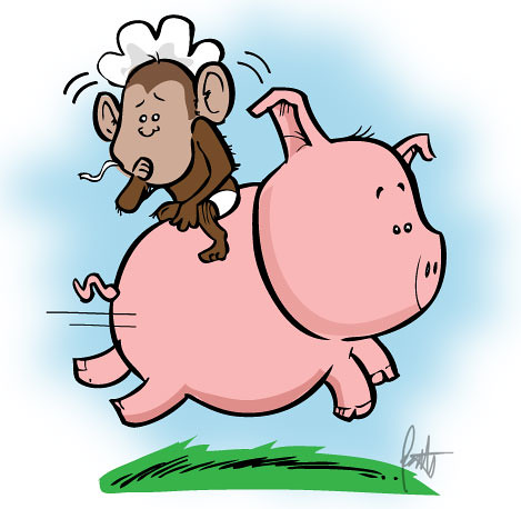 Baby Monkey Riding On A Pig