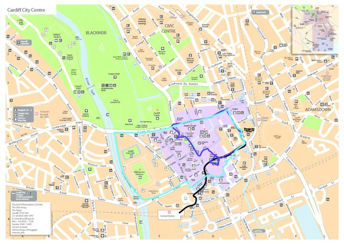 Cardiff City Centre map Black route from station to Hotel Flickr