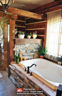 The Master Bath in this Log & Timber Hybrid Home | by PrecisionCraft Log & Timber Homes