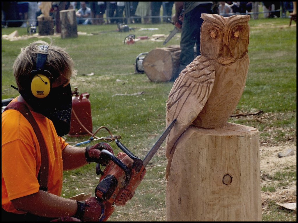 Chain saw carving chainsaw speed competition