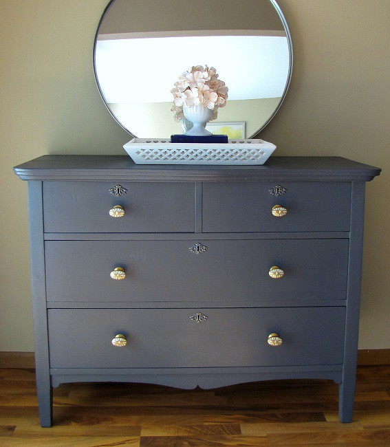 Refinished dresser dark grey with antique brass and mother for Dark grey furniture paint