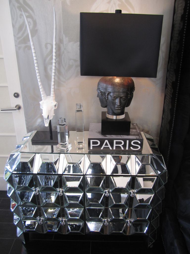 faceted mirrored night stand calling all glamor queen