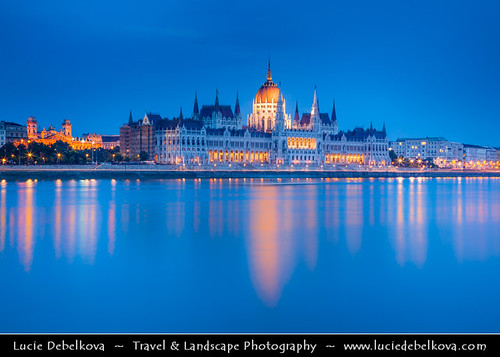 Hungary - Budapest - Twilight over The Hungarian Parliament reflected in Danube River | by © Lucie Debelkova / www.luciedebelkova.com
