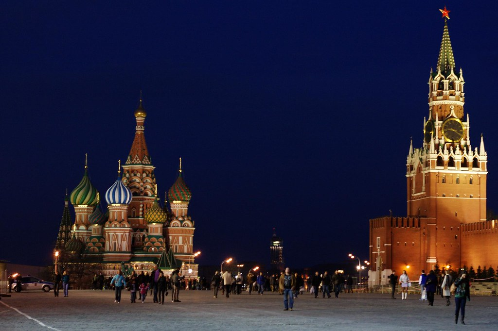 Moscow,Red square, Saint Basil's Cathedral and tower's clock Night ...