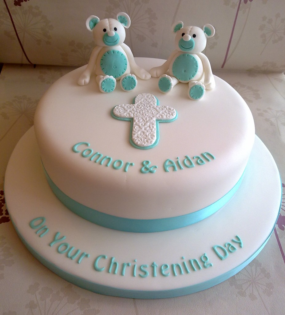 Christening Cake Designs For Twins : Twins Christening Cake www.creationsbypaulajane.co.uk ...