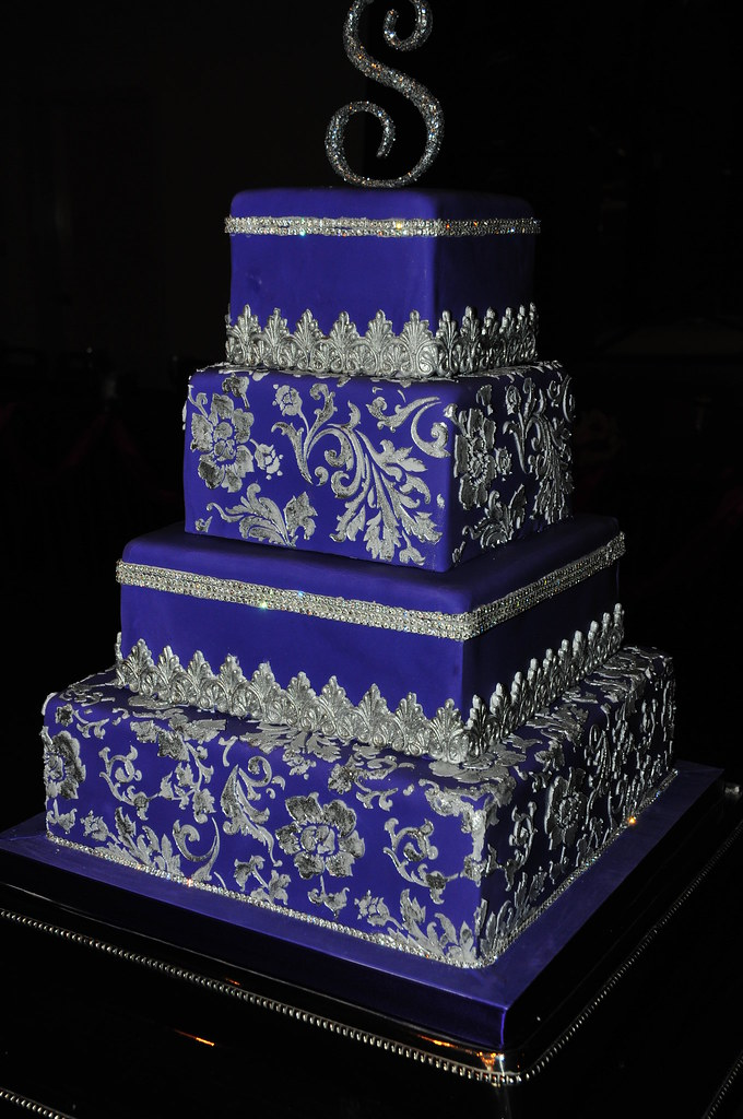 blue and silver wedding cake designs purple fondant wedding cake royal purple fondant wedding 11959