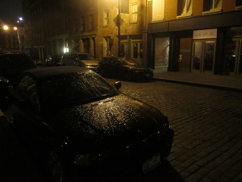 black car in the night rain south street seaport nyc flickr. Black Bedroom Furniture Sets. Home Design Ideas