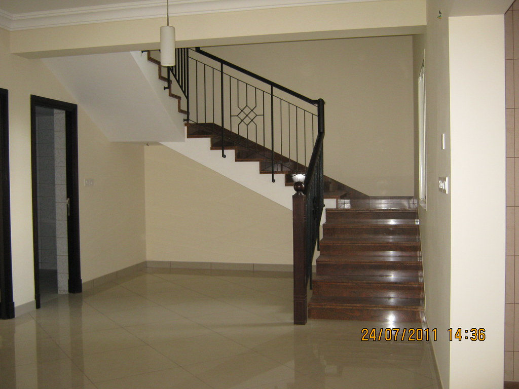 Staircase in a 4 BHK Duplex at Sobha Carnation - on the da