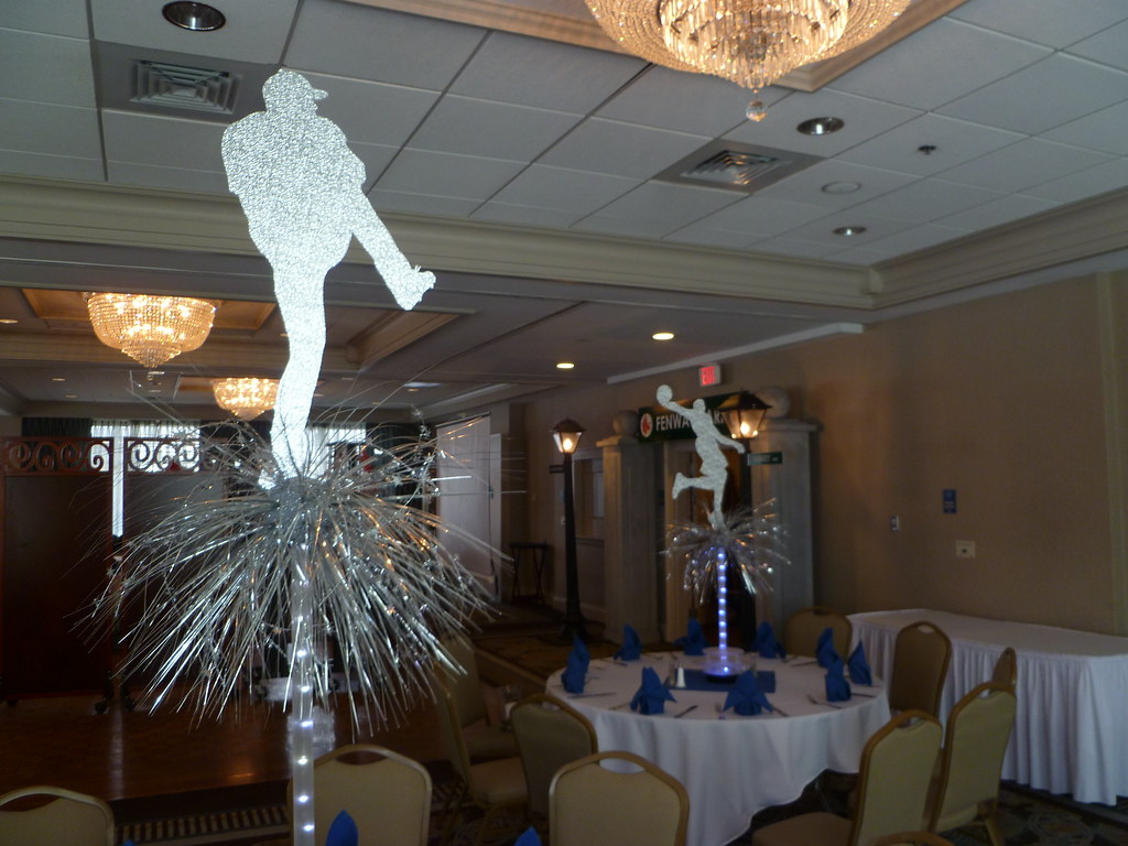 Light up baseball and basketball centerpieces for a sports for Athletic banquet decoration ideas