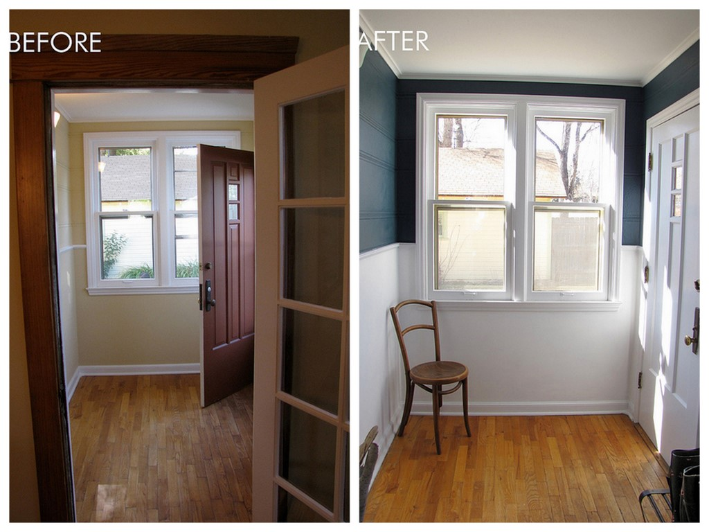 Before After Paint Makeover Benjamin Moore 39 Newburg Gre