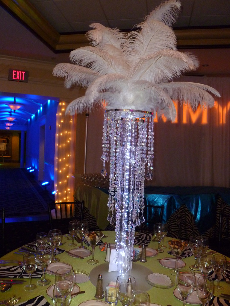 Chandelier Centerpieces With Feather Tops And Led Lights F Flickr