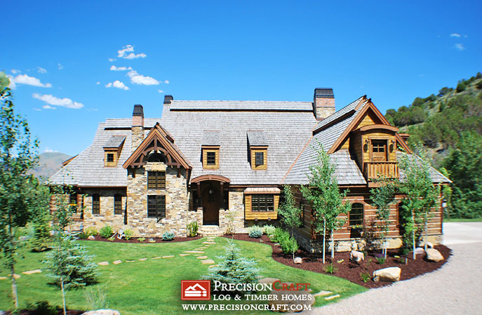 Front elevation of this hybrid log timber home located i for Western style house plans
